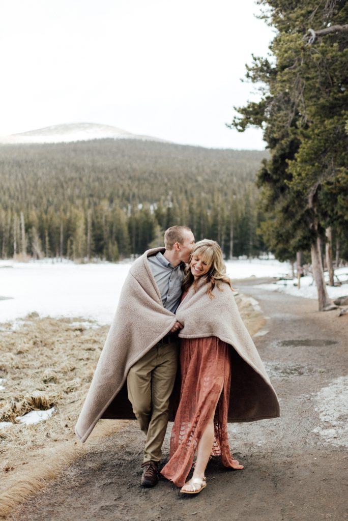engagement session with blanket