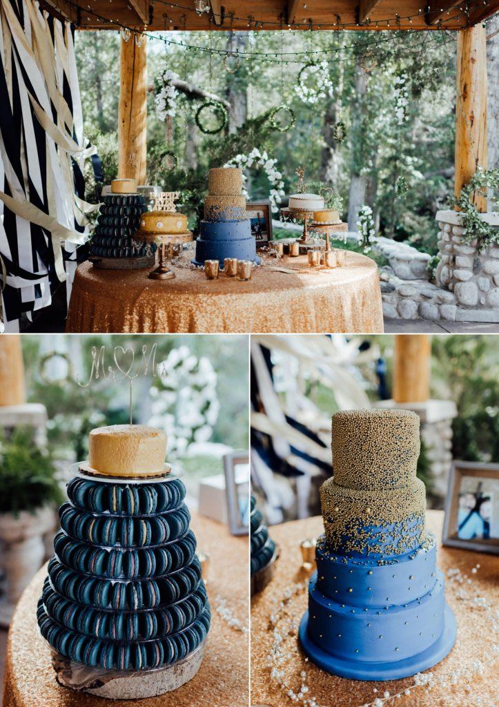 Wedding cake table, wedding cake tables, navy and gold wedding cakes, wedding macaroons