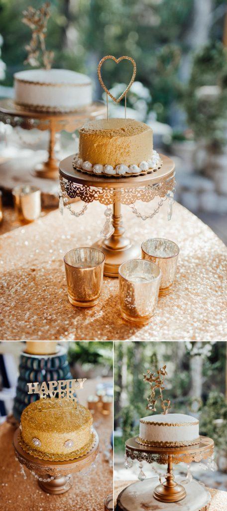 Gold wedding cakes, wedding cake table, wedding cake table ideas