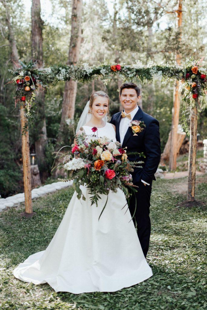 Salida wedding photographer, backyard wedding, floral arch
