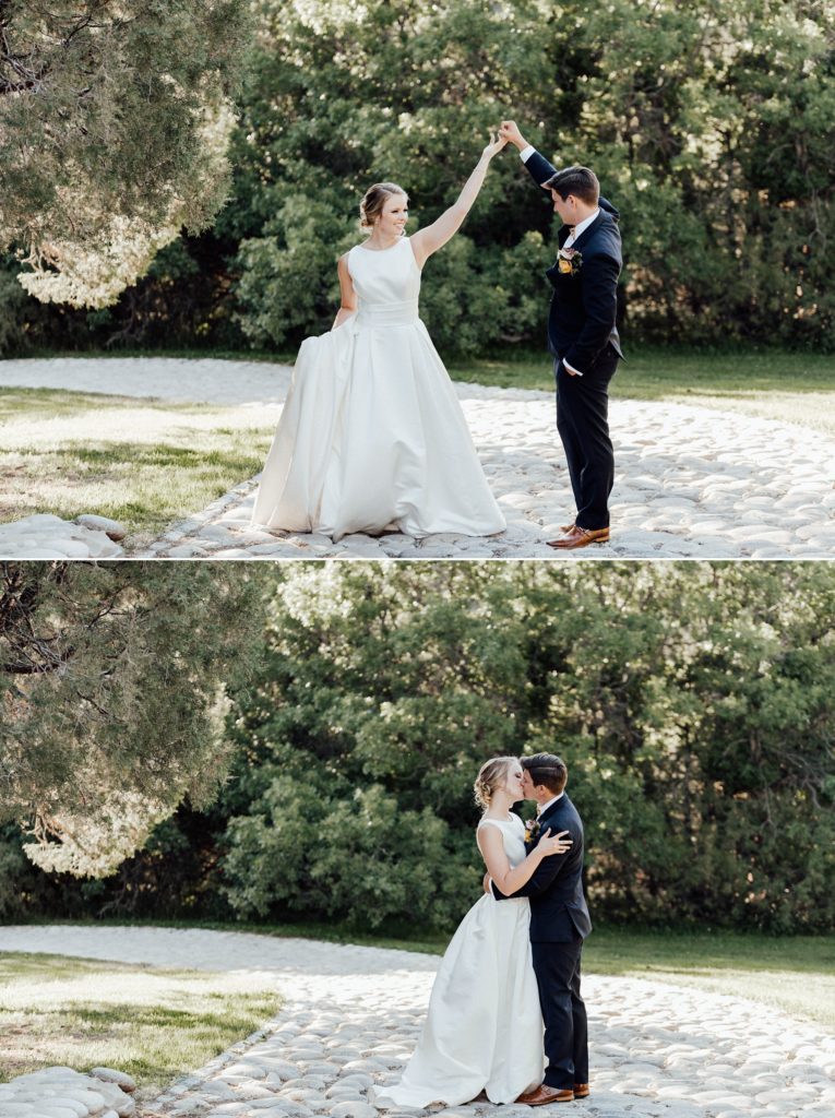 Dancing on the pathway leading throughout the backyard wedding