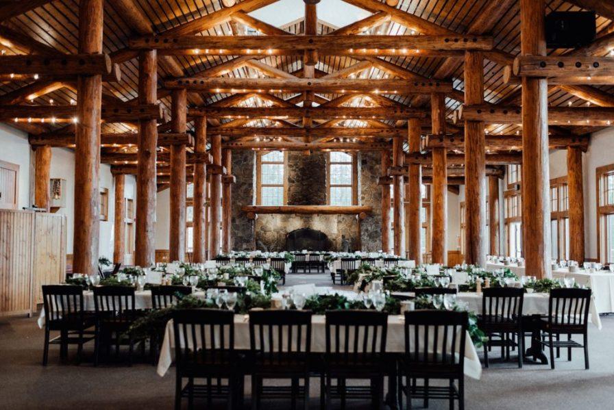 Timber Ridge wedding reception, greenery wedding centerpieces, Keystone wedding venues