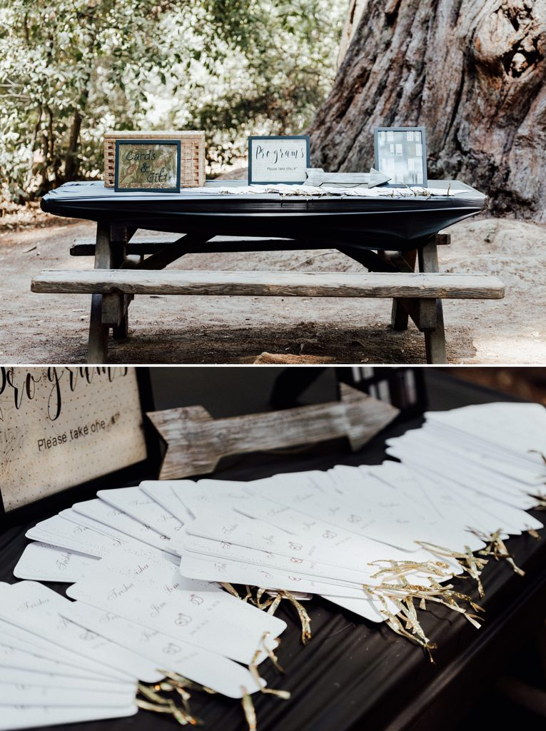 Ceremony handouts, guest welcome table, camping wedding