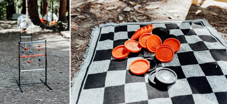 Camping wedding yard games