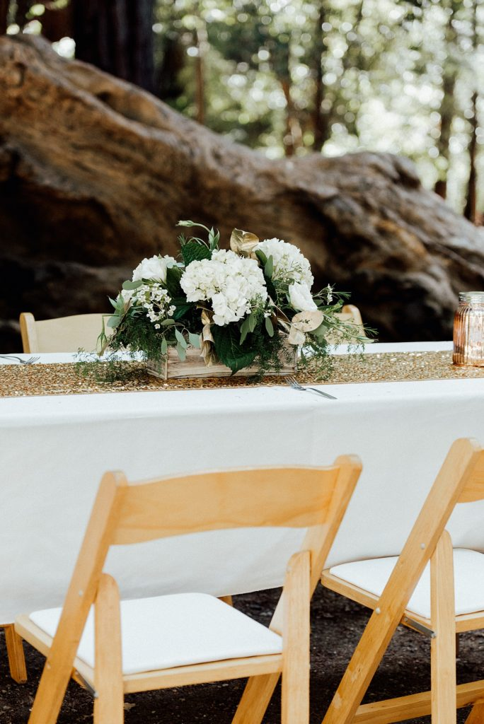 Camping wedding reception decor, Big Basin Redwoods wedding, table decor, outdoor wedding decor