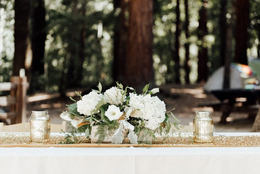 California Redwoods wedding, boho themed wedding decor, glam camping wedding ideas
