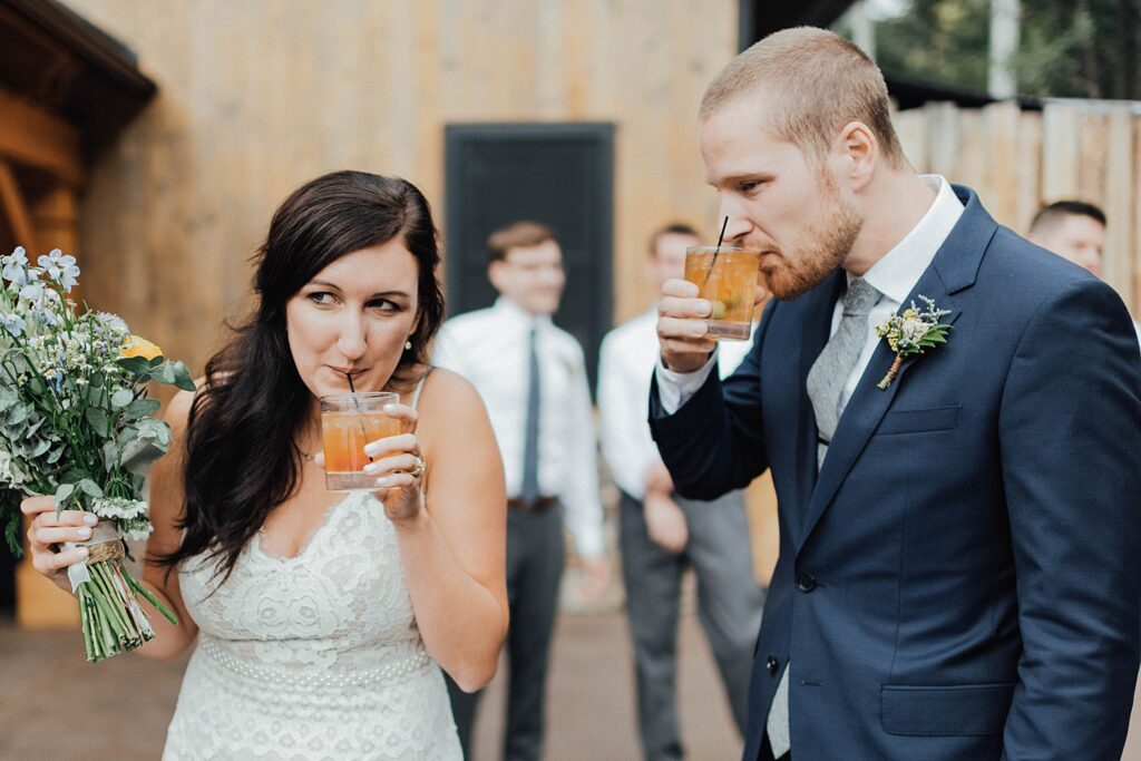 Bride and groom cocktails