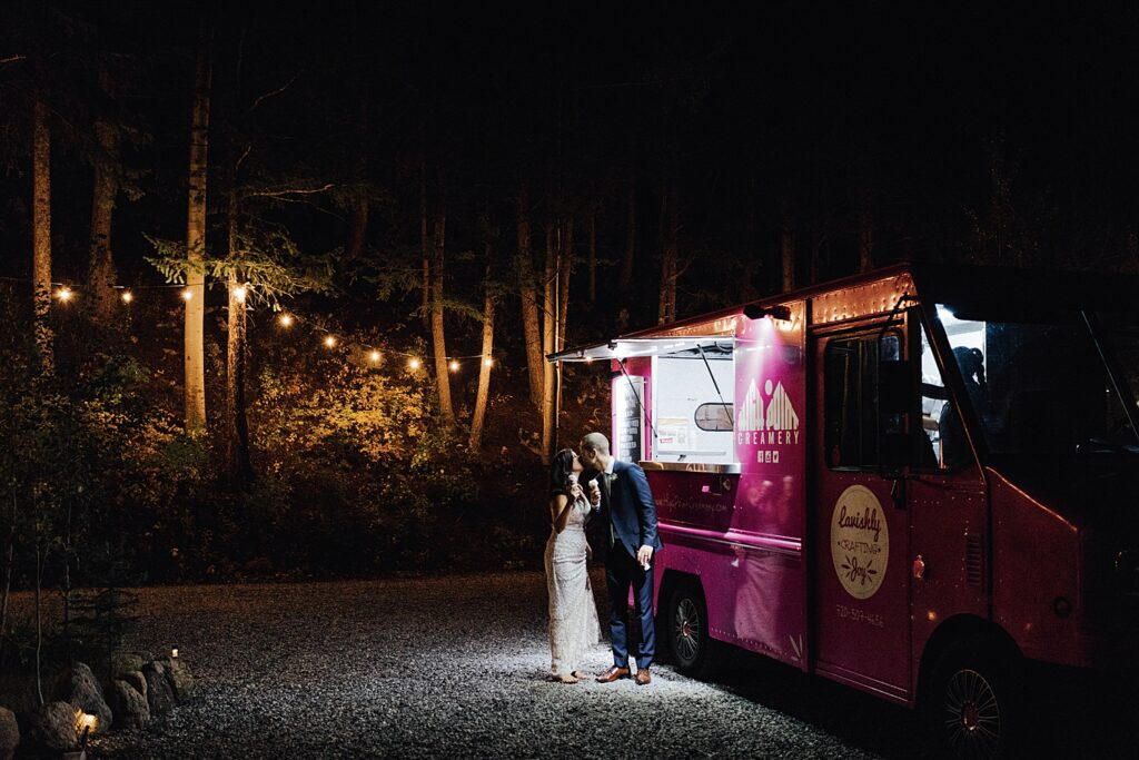 Bride and groom with ice cream truck