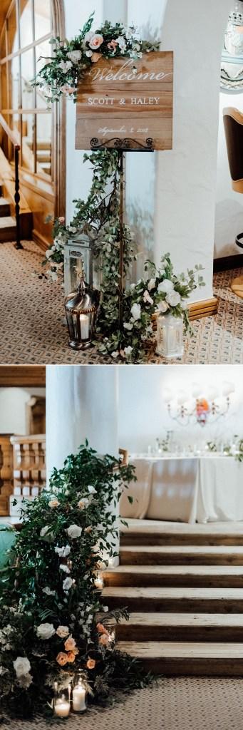wedding welcome sign, greenery wedding decor