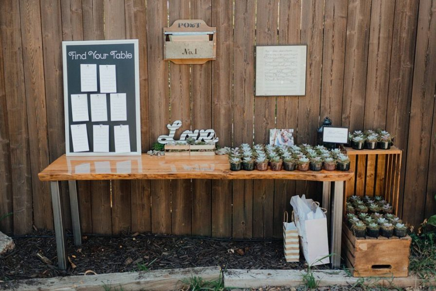 Guest welcome table, wedding guest favors, backyard wedding