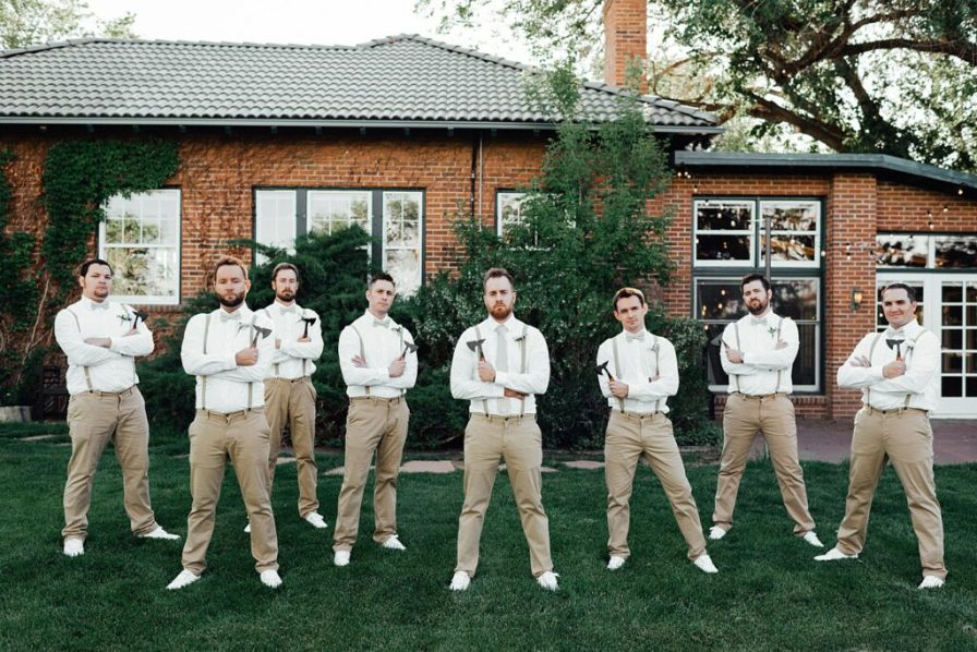 Groomsmen photo ideas, groomsmen outfit ideas, groomsmen suspenders, groomsmen khaki outfits, groom photo ideas