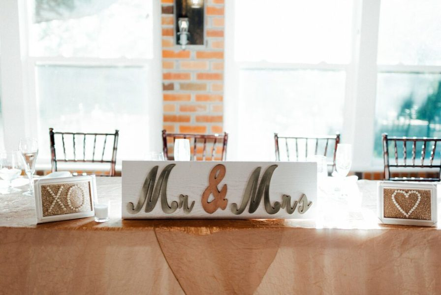 Head table decorations, mr and mrs signs