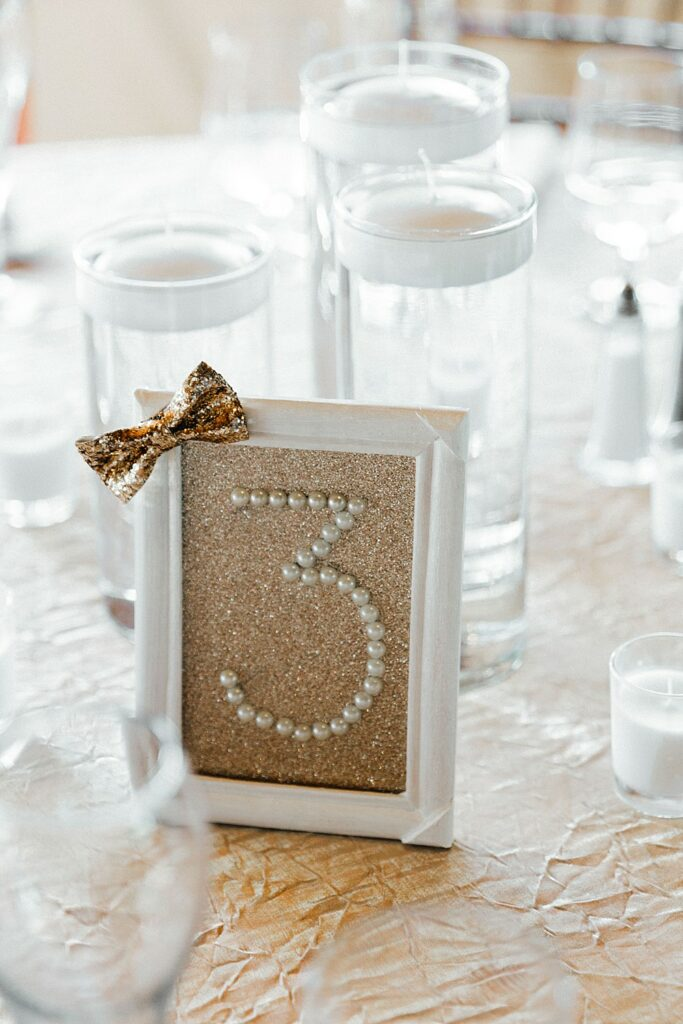 Gold wedding decor, chic wedding decor, gold table numbers, gold table cloths