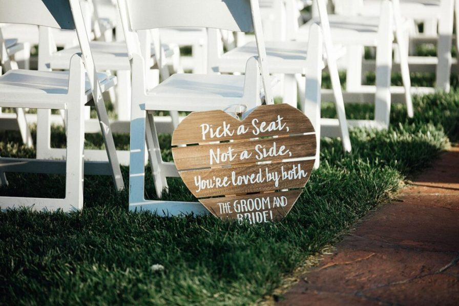 Wedding signs, pick a seat not a side signs