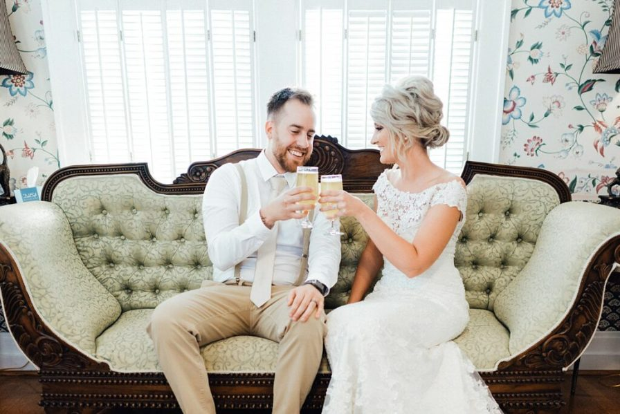 Couple celebrate with champagne