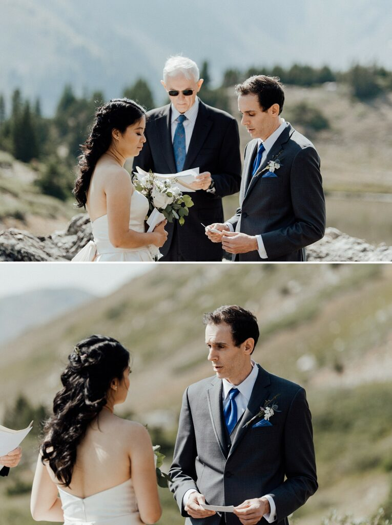 Grooms reads his vows to bride