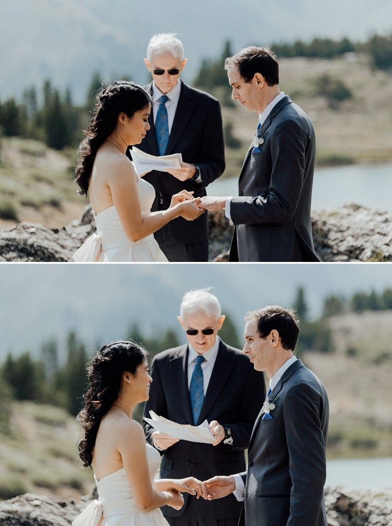 Exchanging of rings for this intimate elopement