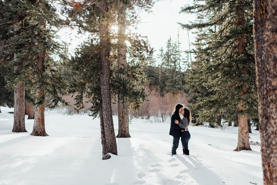 Colorado winter engagement photos at sunset