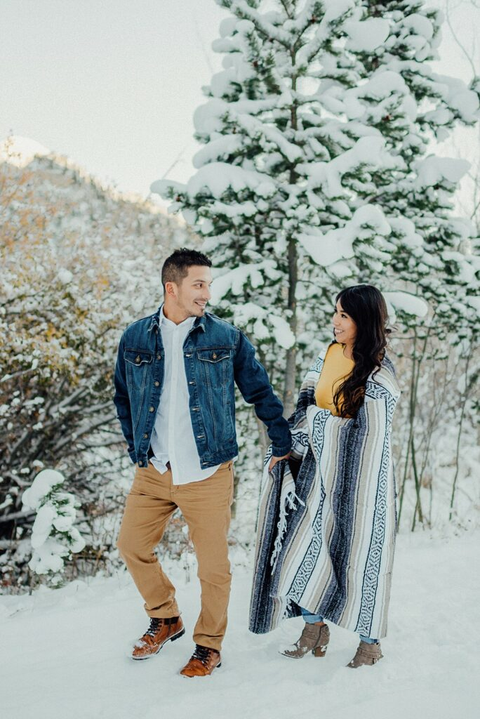 winter engagement photos at Lily Lake