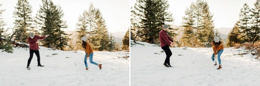 engagement photos snowball fight
