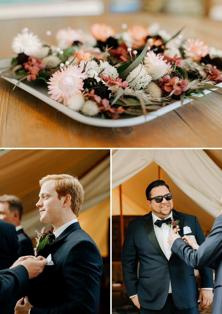 boutonnieres being pinned on the groomsmen