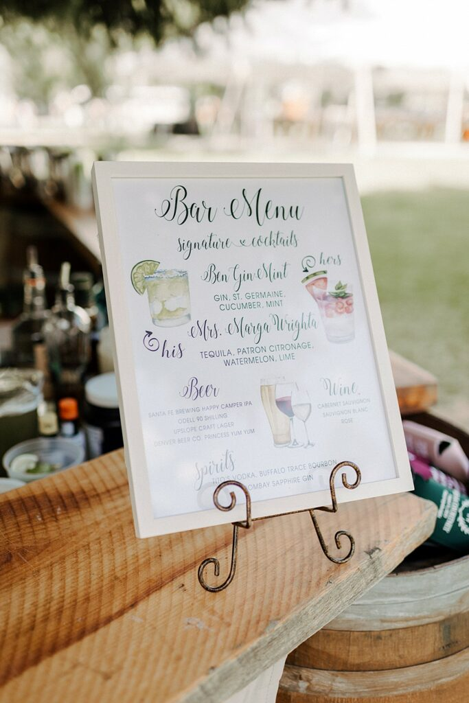 bar menu sign for wedding