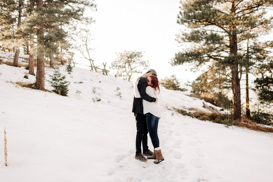 snowy lost gulch engagement photos