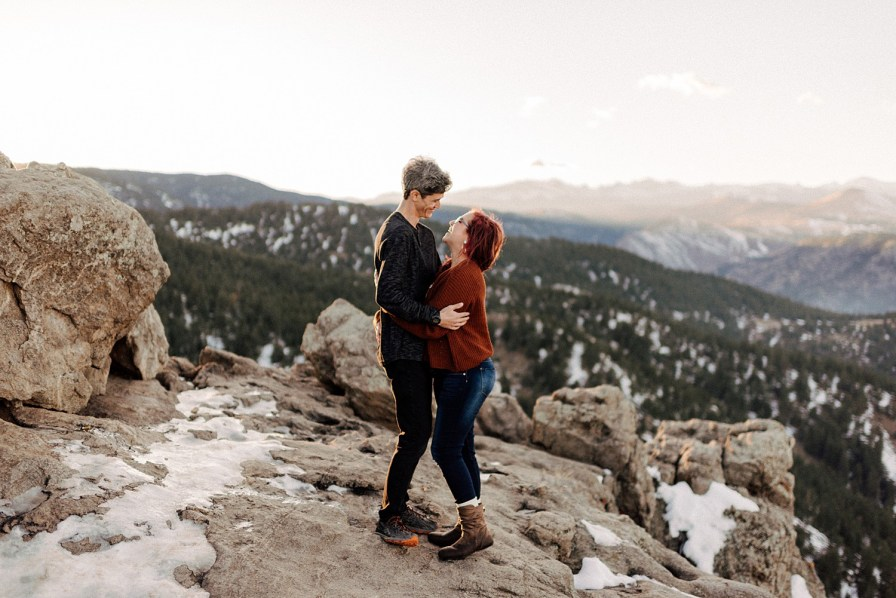 snowy lost gulch engagement photos at sunset