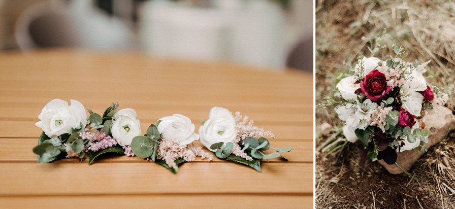 summer wedding bouquet and boutonnières