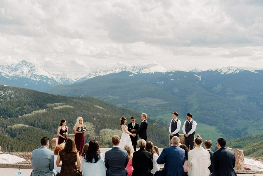 ceremony at the vail mountain wedding deck