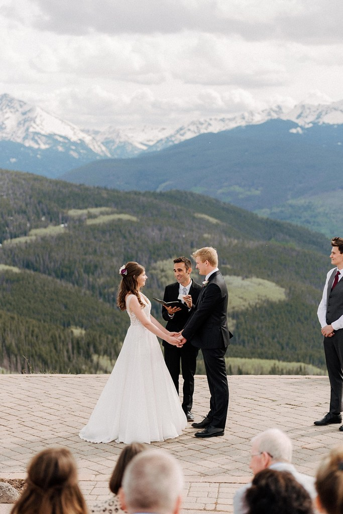 summer wedding at the vail mountain wedding deck