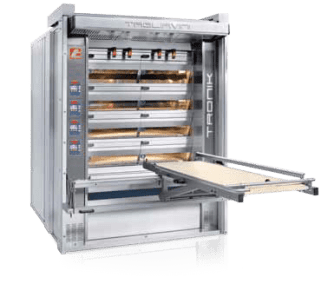 Industrial Electric Deck Oven with Integrated Loader Lowered