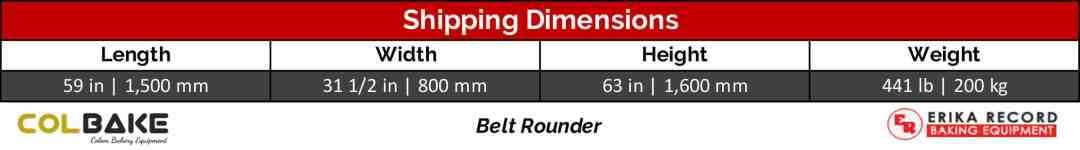 Colbake Belt Rounder Shipping Weight & Dimensions