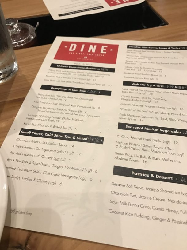 The menu at China Live features a number of gluten-free and vegetarian dishes, all clearly marked on the menu.