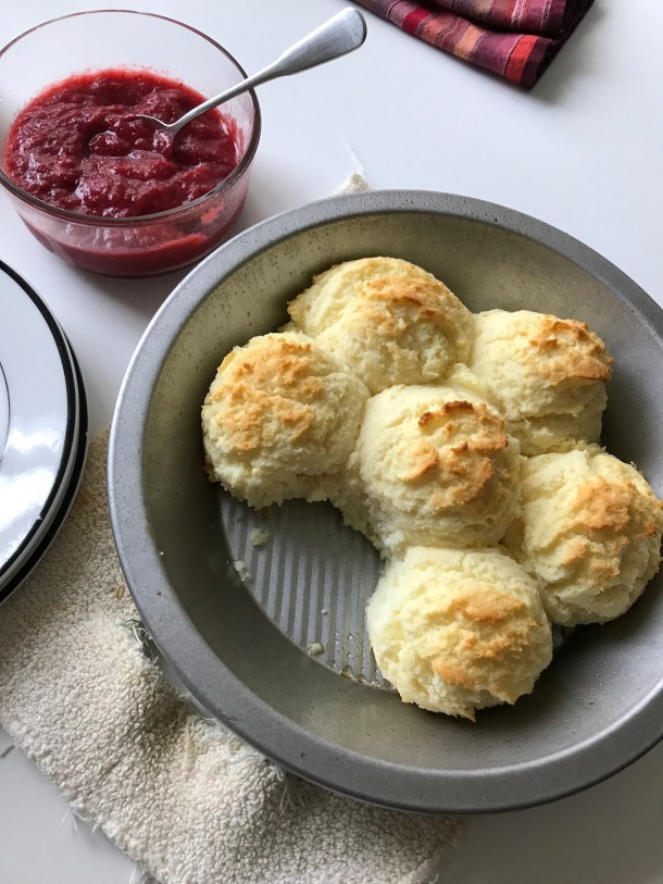 Biscuits with Strawberry Rhubarb Butter | Erika's Gluten-free Kitchen erikasglutenfreekitchen.com