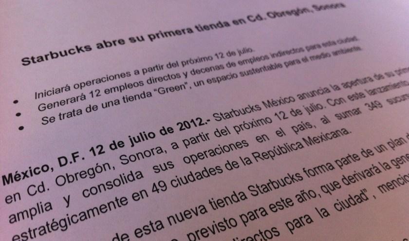 Comunidad Starbucks Obregón, Parte 1. (TBT 2012)