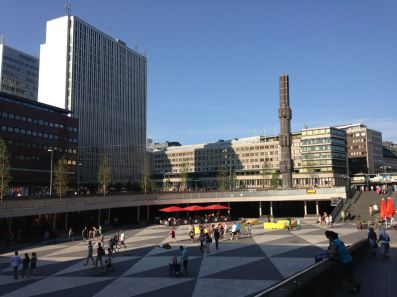 Sergels Torg (Sergel's Square), the city's main square, which was attacked by hideous modern architecture in the 60's and has yet to recover