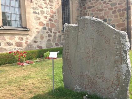 Rune stone outside Vallentuna kyrka