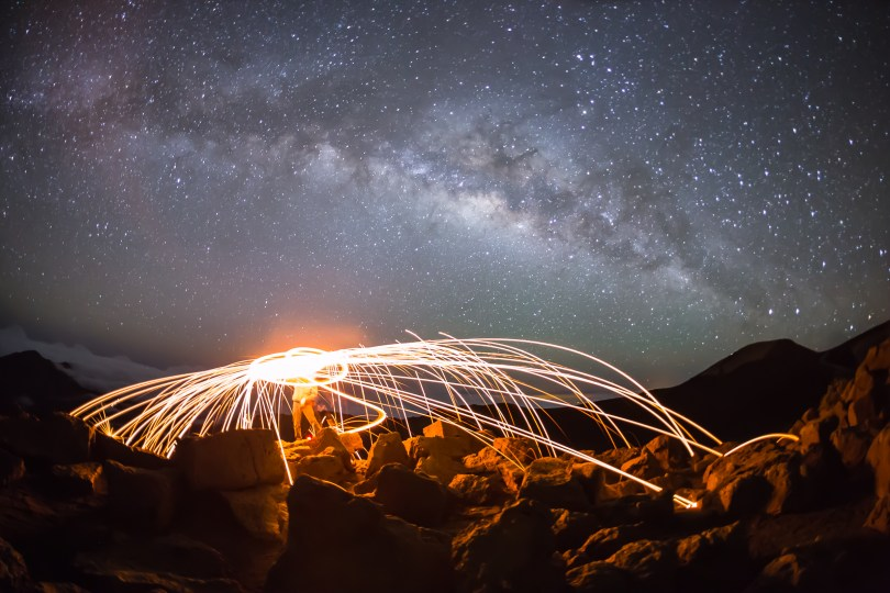 Haleakala, Steel wool, Long exposure, Galactic Core, Hawaii