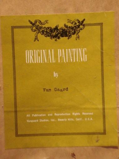 Label on Van Gaard Painting