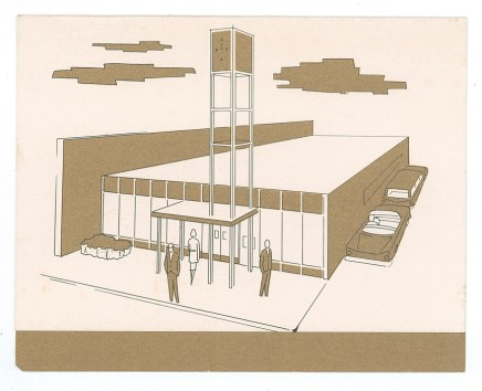 Artist's rendering of American National Bank, Little Falls, MN, 1959.