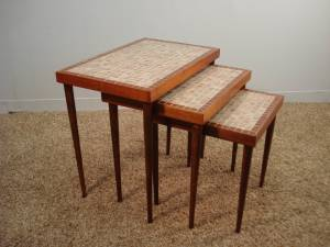 Nesting tables with tile tops