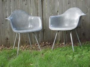 Herman Miller/Eames Elephant Grey Fiberglass Armchairs