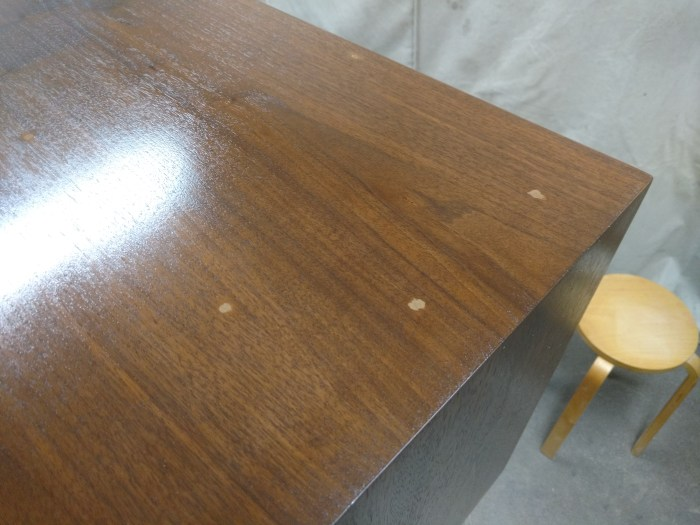 Jens Risom Credenza: Holes in top, stain and sealer coats applied.