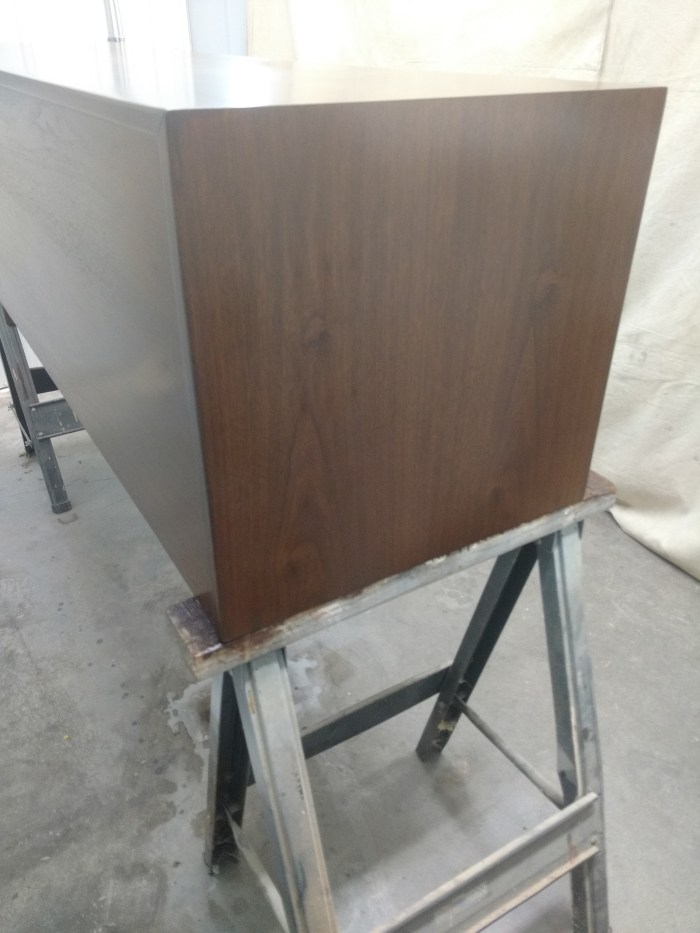 Jens Risom Credenza: Left end, finished repair.