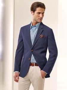 Blue Blazer Kakai Pants Blue Shirt Tom James Custom Suits Custom Shirts