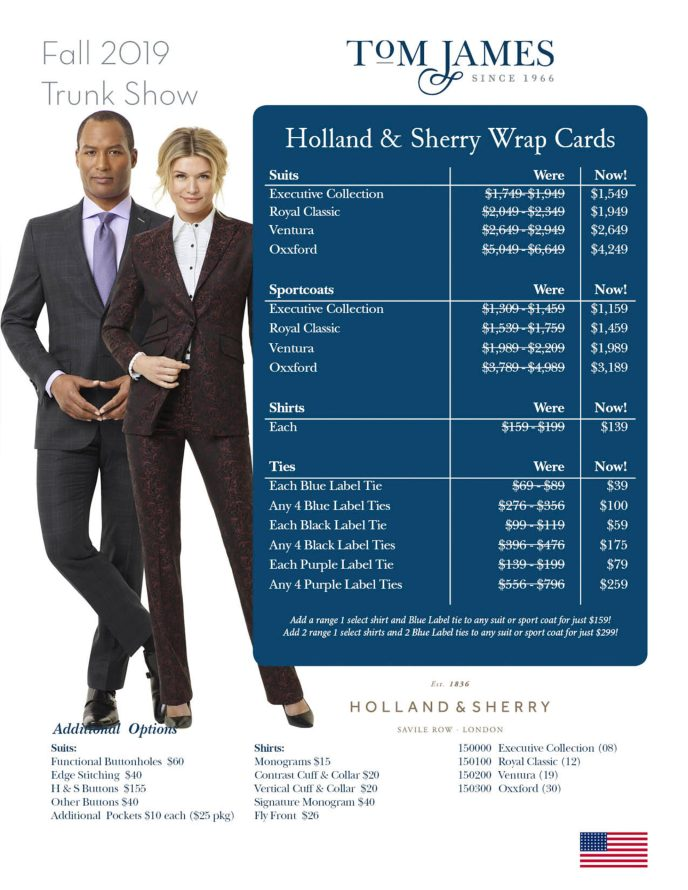 Holland And Sherry Tom James Oxxford Fall 2019 Trunk Show