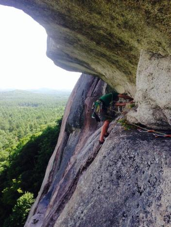 Tim on pitch 5 of Pendulum Route, Cathedral
