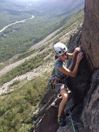 Alexa coming to the second pitch belay on VMC DD