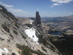 Eichorn's Pinnacle as seen from the descent of Cathedral peak